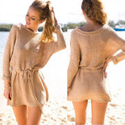 Retro Loose Long Sleeves Solid Color Sweater Dress