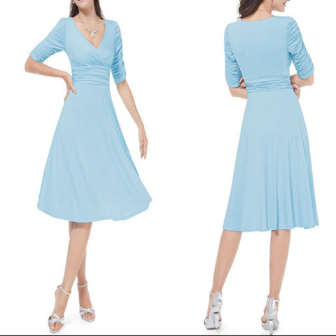 V-neck Ruched Empire Half Sleeves Knee-length A-line Dress - MeetYoursFashion - 9