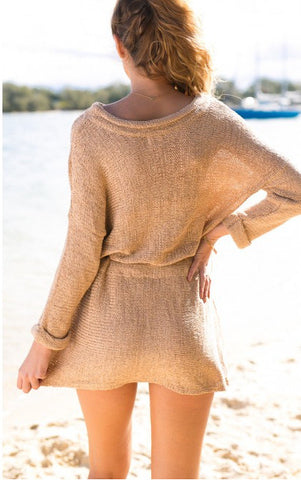 Retro Loose Long Sleeves Solid Color SweatDress - Meet Yours Fashion - 5