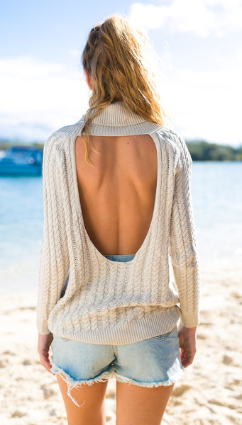 Backless Scoop Solid Color Pullover Lapel Sweater - Meet Yours Fashion - 4