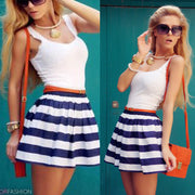 Splicing Stripe O-neck Sleeveless Short Dress