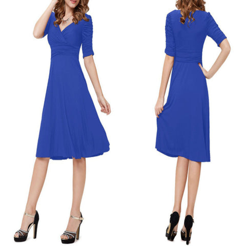 V-neck Ruched Empire Half Sleeves Knee-length A-line Dress - MeetYoursFashion - 2