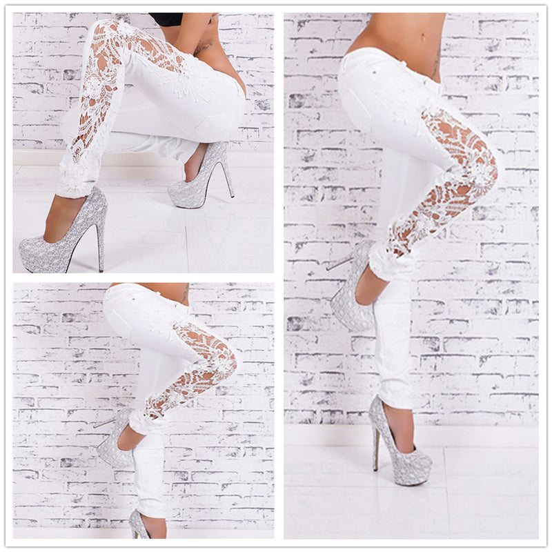 Plus Size Lace Patchwork Slim Straight Low Waist Jeans - Meet Yours Fashion - 2