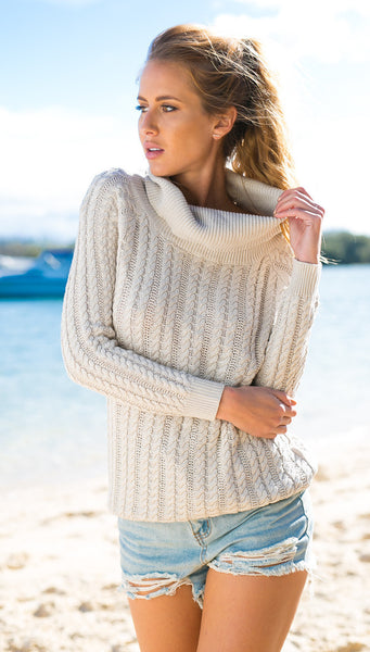 Backless Scoop Solid Color Pullover Lapel Sweater - Meet Yours Fashion - 3