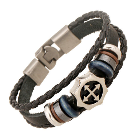 Arrow Cross Leather Woven Bracelet