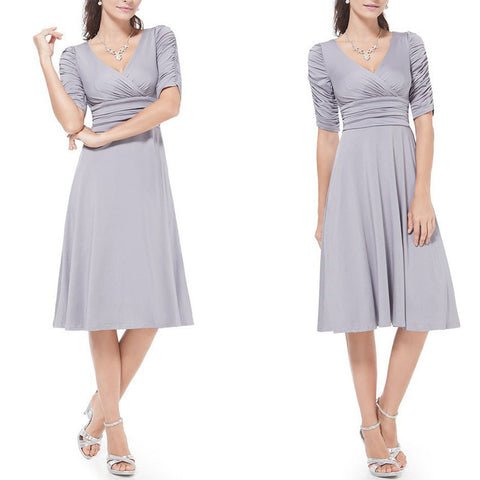 V-neck Ruched Empire Half Sleeves Knee-length A-line Dress - MeetYoursFashion - 5