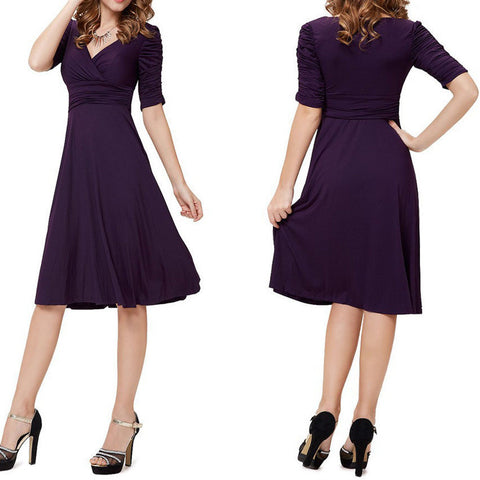 V-neck Ruched Empire Half Sleeves Knee-length A-line Dress - MeetYoursFashion - 4