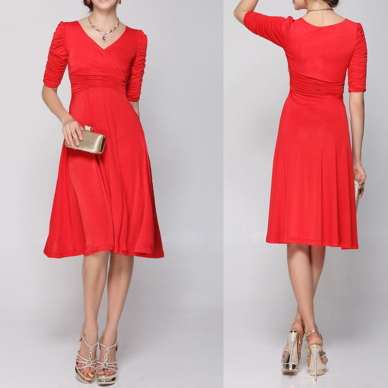 V-neck Ruched Empire Half Sleeves Knee-length A-line Dress - MeetYoursFashion - 3