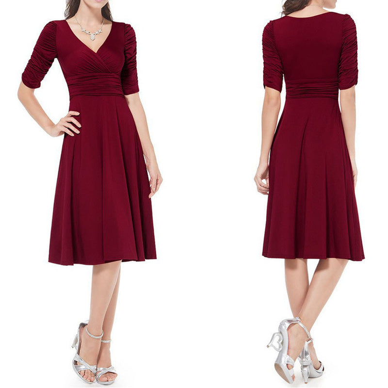 V-neck Ruched Empire Half Sleeves Knee-length A-line Dress - MeetYoursFashion - 1