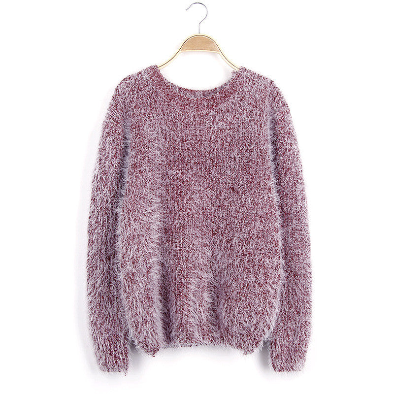 Scoop Solid Mohair Pullover Short Loose Sweater - Meet Yours Fashion - 2