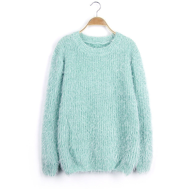 Scoop Solid Mohair Pullover Short Loose Sweater - Meet Yours Fashion - 1