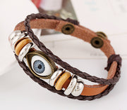 Punk Eyes Beaded Leather Bracelet