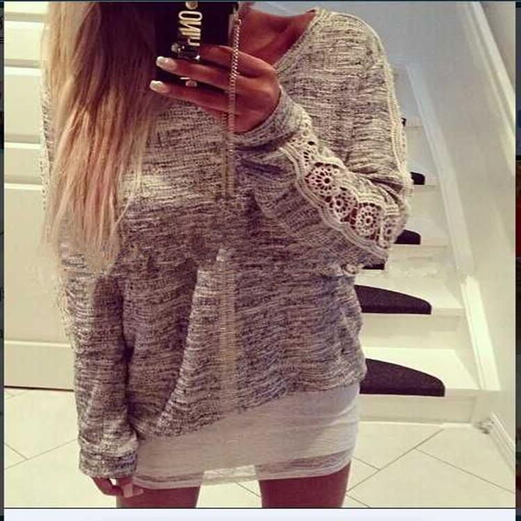 Lace Patchwork Casual Scoop Long Sleeves Blouse - Meet Yours Fashion - 1