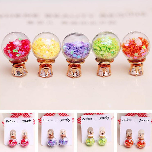 Fashion Glass Ball Color Star Earring