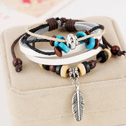 Feather Beaded Multilayer Bracelet