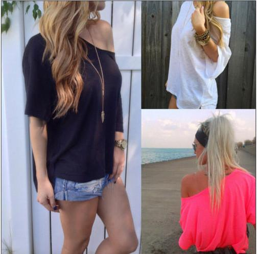 Pure Color Casual Loose Short Sleeves Sexy T-shirt - Meet Yours Fashion - 2