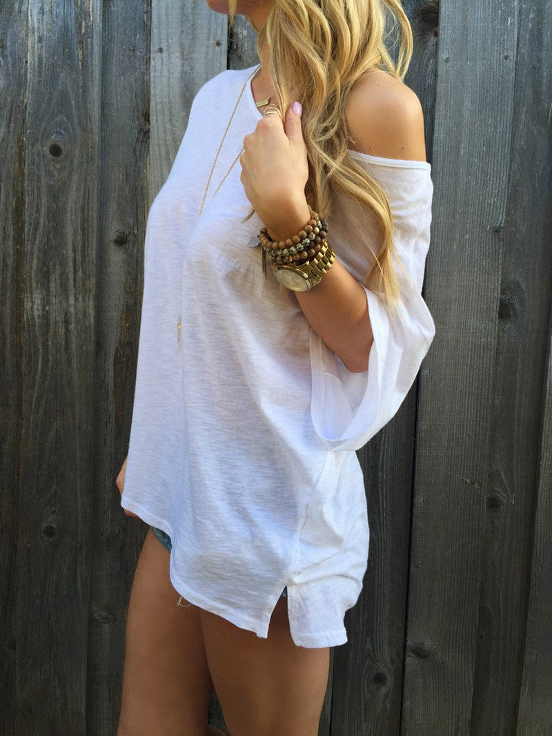 Pure Color Casual Loose Short Sleeves Sexy T-shirt - Meet Yours Fashion - 4
