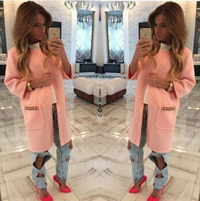 Candy Colors Scoop 9/10 Sleeves Long Loose Coat - Meet Yours Fashion - 5