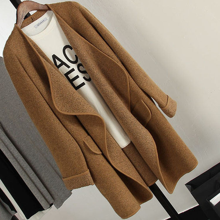 Irregular Lapel Pocket Loose Knitted Cardigan - MeetYoursFashion - 1