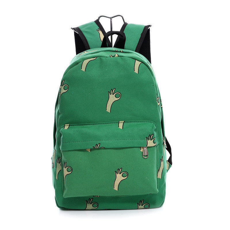 Lovely Korean Canvas Casual Backpack Bag - Meet Yours Fashion - 1