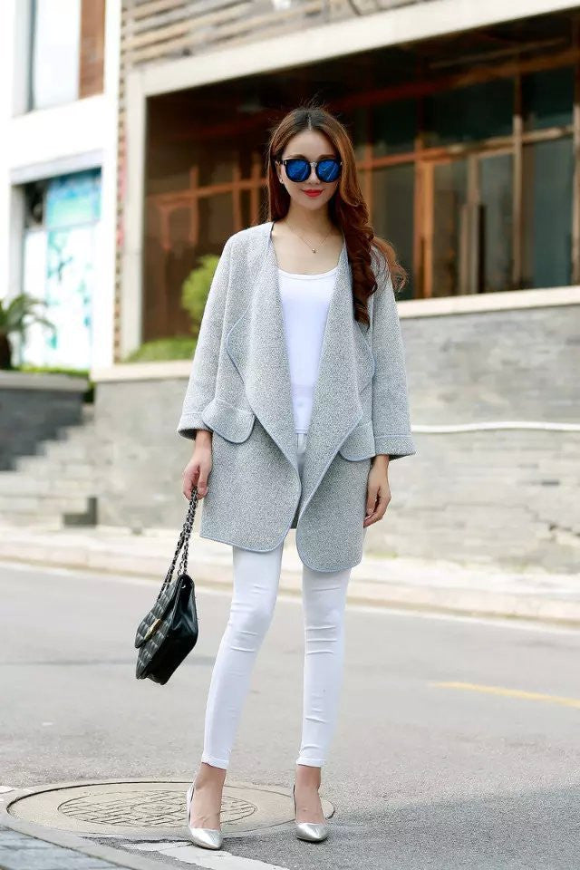 Irregular Lapel Pocket Loose Knitted Cardigan - MeetYoursFashion - 5