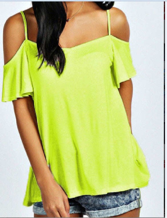 Spaghetti Straps Bear Shoulder Candy Color Loose Blouse