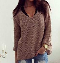 Deep V-neck Hollow Out Loose Pullover Sweater - MeetYoursFashion - 1