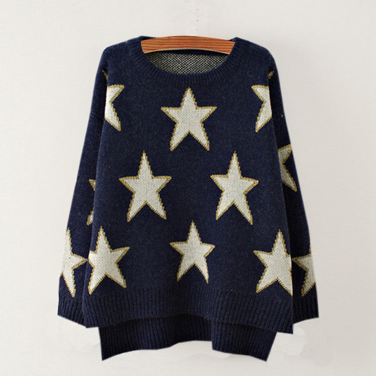 Print Cute Loose Scoop Knit Pullover Sweater - Meet Yours Fashion - 4