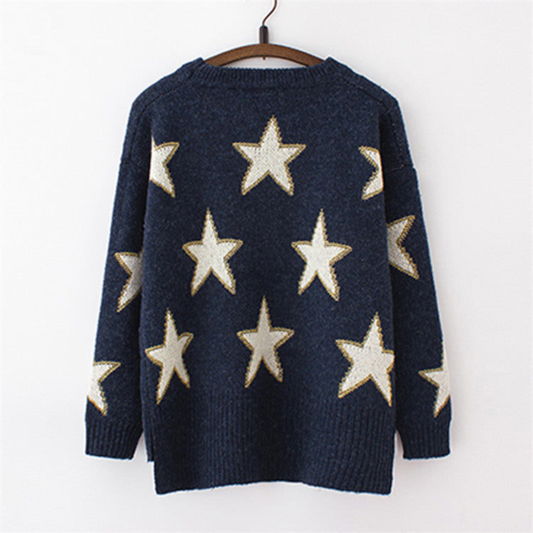 Print Cute Loose Scoop Knit Pullover Sweater - Meet Yours Fashion - 5