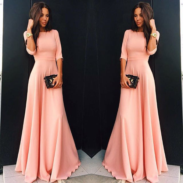 Slim Pure Color 3/4 Sleeves Pleated Long Maxi Dress - MeetYoursFashion - 3