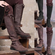 Knee High Leather Lace Up Suede Boots