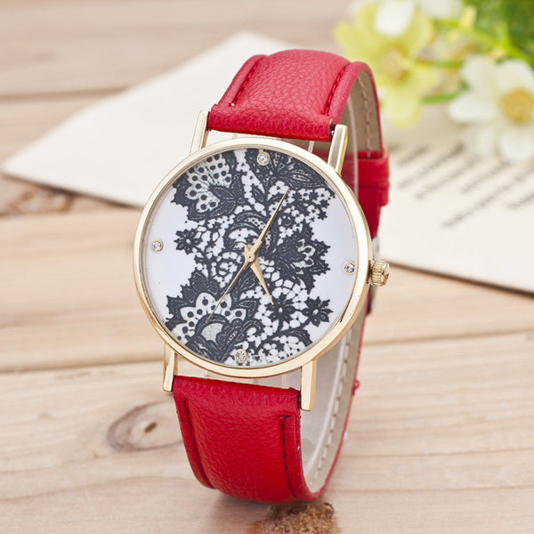 Black Floral Print Watch