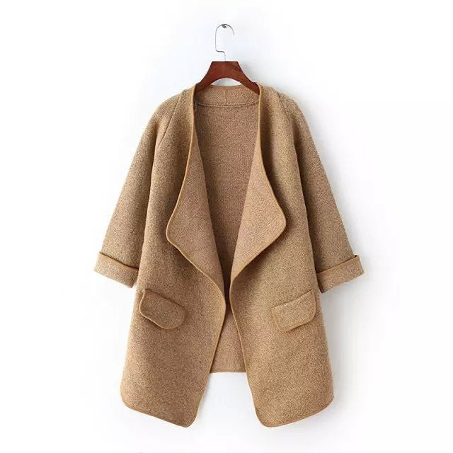 Irregular Lapel Pocket Loose Knitted Cardigan - MeetYoursFashion - 2