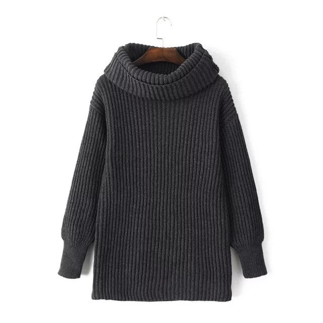 Lapel Pullover Loose High Collar Solid Sweater - Meet Yours Fashion - 4