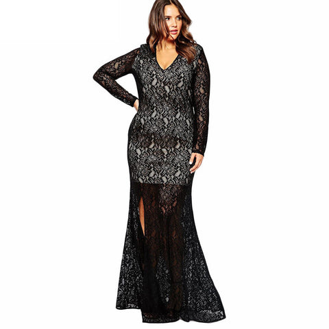 Sexy Elegant Lace Split Long Evening Party Dress
