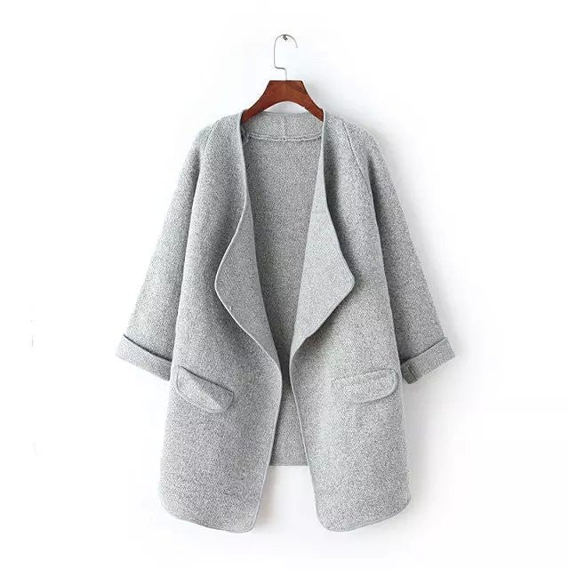 Irregular Lapel Pocket Loose Knitted Cardigan - MeetYoursFashion - 3