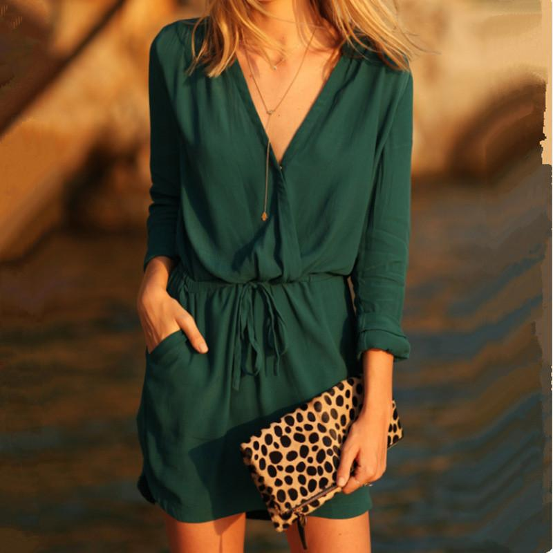 Fashion V-neck Long Sleeves Patchwork A-line Short Dress - Meet Yours Fashion - 1