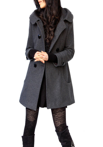 Woolen Double Button Hooded Slim Long Coats - Meet Yours Fashion - 1