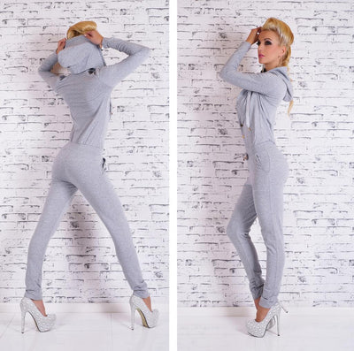 Sports Style Hoodie Pure Color Draw String Long Jumpsuit