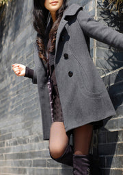 Woolen Double Button Hooded Slim Long Coats - Meet Yours Fashion - 4