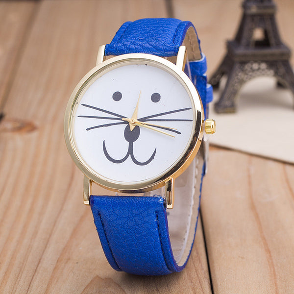 Cute Kitty Face Leather Watch