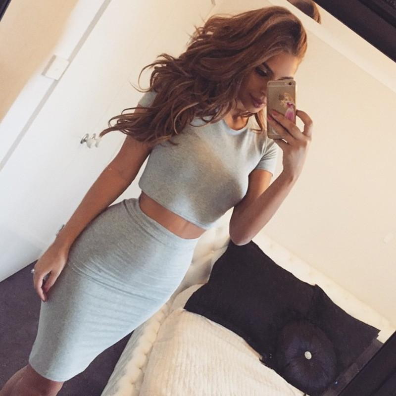 Solid Crop Top with Knee-length Skirt Cotton Dress Set - Meet Yours Fashion - 1