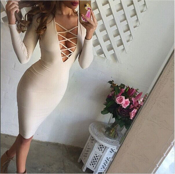 Cross Neck Bandage Bodycon Knee-length Club Dress - MeetYoursFashion - 3