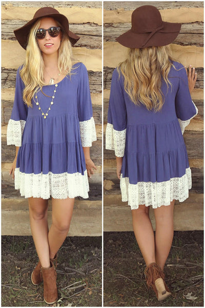 3/4 Sleeves Solid Color Scoop Lace Splicing Short Dress - Meet Yours Fashion - 4