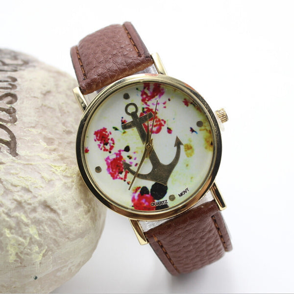 Hot Sale Petal Anchor Leather Watch