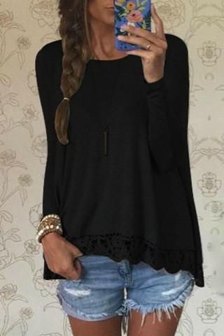 Lace Patchwork Long Sleeves Casual Loose Scoop T-shirt - Meet Yours Fashion - 4