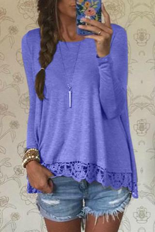 Lace Patchwork Long Sleeves Casual Loose Scoop T-shirt - Meet Yours Fashion - 6