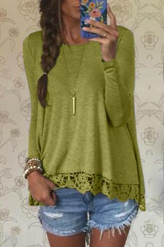 Lace Patchwork Long Sleeves Casual Loose Scoop T-shirt - Meet Yours Fashion - 2