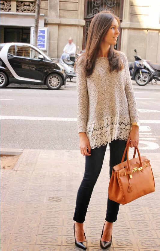 Lace Trim Pure Color Loose Knit Sweater - Meet Yours Fashion - 1