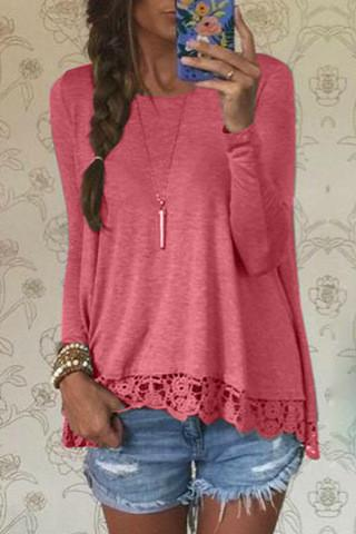 Lace Patchwork Long Sleeves Casual Loose Scoop T-shirt - Meet Yours Fashion - 5